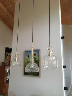 Kundenfoto CARNIVAL Glasleuchten - Sonderanfertigung offener Dachstuhl in brushed gold