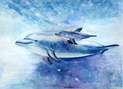 Delphin Mutterliebe Aquarell Watercolour Feenographie Krafttier Vertrauen