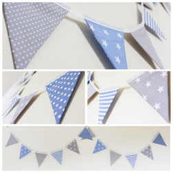 blue and grey nursery bunting baby boy bedroom decor baby shower banner garland fabric flags new born mum to be epecting pregnany new parents gift