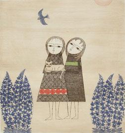 2人の少女と猫 (1969)    エッチング