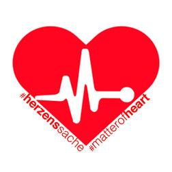 rotes herz mit den unterschriften #herzenssache und #matterofheart