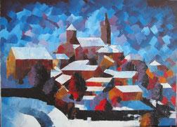 Parthenay sous la neige (huile)