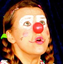 clownin werden mund auf