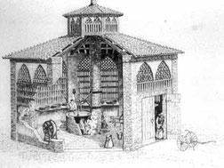 L.Confortini, Spaccato di un caseificio reggiano del 1870