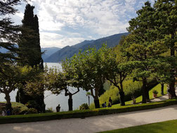 view from the terrace at villa del Balbianello, Lake como