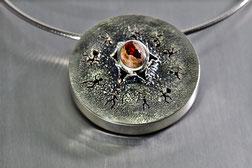 Anhänger in Silber 925 mit Matrix-Opal, Goldschmiede Backhaus, Halsschmuck, Einzelstück, Unikat, Markus Backhaus, Feueropal
