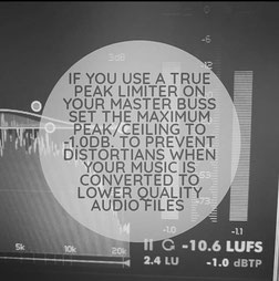 If you use a true peak limiter on your master buss set the maximum peak/ceiling to -1db, to prevent distortians when your music is converted to lower quality audio files like mp3