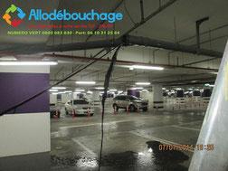 Curage de canalisation verticale et horizontale parking sous sol Vinci
