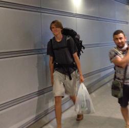Flughafen Ankunft Backpacker