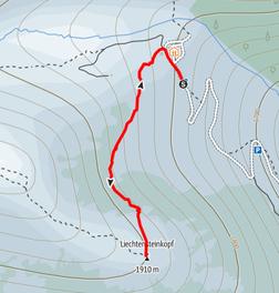 Route von der Aualm auf den Lichtensteinkopf