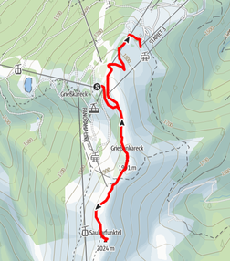 Route im Skigebiet Flachau auf Grießenkareck und Saukarfunktel