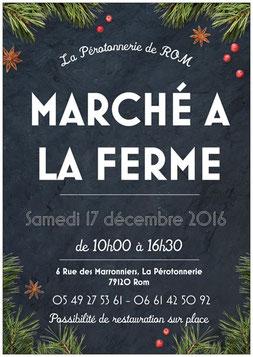 Affiche marché à la Ferme de La Pérotonnerie de Rom du samedi 17 décembre, dans les Deux Sèvres