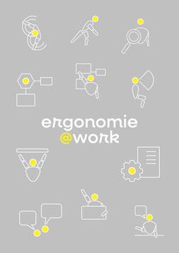 11 Icons mit verschiedenen Arbeitsbereiche der Ergonomie & Logo Ergonomie@work