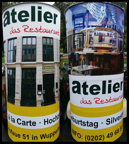 Neueröffnung, Atelier Restaurant, Wuppertal Elberfeld ; Aussenwerbung ; mobile  Werbesäule ; Reklame ; Werbung ; mobile Außenwerbung ; refix GmbH ; advertising ; pillar ; column ; günstig; inovation ; einzigartig ; unique