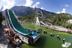 © AREA 47: Photograf Florian Breitenberger; AREA 47 – der größte Outdoor Freizeitpark in Österreich, Outdoor-Highlight im Ötztal, Outdoor, Sommer, Water Area, Slipn Slide, Wasser, Spaß, Sprung, Berg
