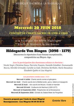 concert de musique sacrée à la basilique ste Marie Madeleine à St Maximin la Ste Baume.