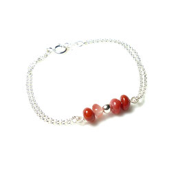 Edelsetinschmuck - Marsala roter Chalcedon mit Silber Silberarmband