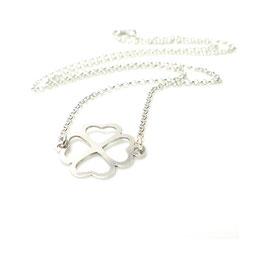 Glücksbringer Kleeblatt ♥ 925 Silberkette Herzen