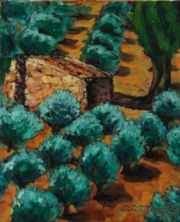 Cabanon dans les oliviers, 46/38cm oil on canvas