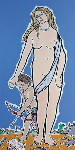 "Moritz Götze,  ""Amor & Psyche"" ,2013, Öl auf Leinwand, 200 x 100 cm"