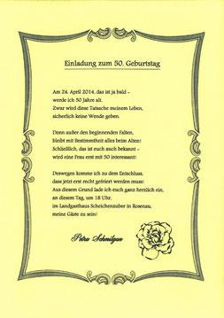 Einladung 50er Schmilgun Petra
