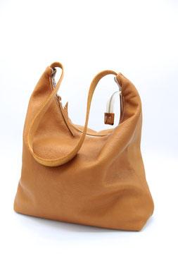 Marina - Tasche aus Bioleder, Schultertasche mit 55cm Gurt, brownie