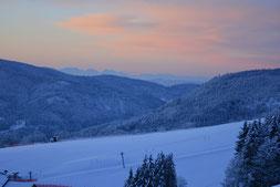Blick vom Hotel Arnica Richtung Alpen