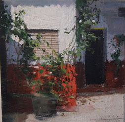 Patio Andaluz.  Óleo sobre Tabla. 20x20cm.