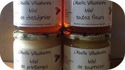 Miel de châtaignier, de printemps, de tournesol et toutes fleurs en pots verre de 500 g de l'Abeille villadéenne, apicultrice récoltante en Charente maritime