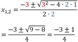 Beispiel für das Einsetzen der Zahlen in die Mitternachtsformel