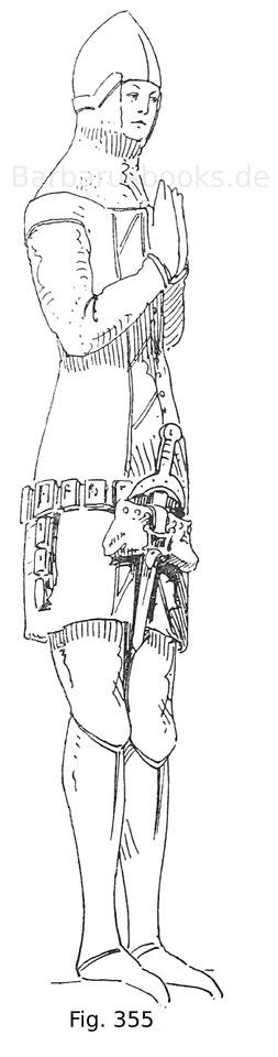 Fig. 335. Grabbild eines Grafen in der Kathedralkirche zu Neuchâtel. Mitte des 14. Jahrhunderts. Die Gestalt trägt am Dupsing die Ledertasche, hinter welcher der Dolch steckt. Nach Jacquemin.