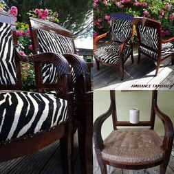 Réfection complète en crin animale de ces deux fauteuils à dossier carré en acajou massif de l'Époque Empire. Quelle plaisir!🙂