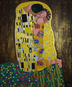 """Hommage an Gustav Klimts Bild """"Der Kuss"""", 100 x 120 cm, März 2010, Acryl auf Leinwand"""