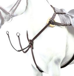 """BP12Selleria Equipe Elastisches Vorderzeug aus Leder, Modell """"EVENT"""", mit Befestigungsmöglichkeit am Sattel und an den Sattelgurt-Strippen."""