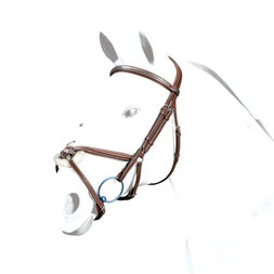 """Trense BR37 Selleria Equipe Trense aus SEDGWICK-Leder mit anatomischem Genickstück """"No Stress"""". Mit Clincher-Stirnband und mexikanischem Reithalfter mit zwei Einstellmöglichkeiten."""