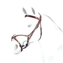"""BR33 - Selleria Equipe Trense aus SEDGWICK-Leder mit anatomischem Genickstück """"No Stress"""" und Lack-Stirnband mit rundgenähmtem, mexikanischen Reithalfter"""