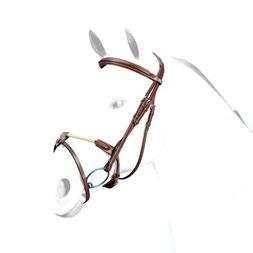 """Trense - Zaum Selleria Equipe BR38 Trense aus SEDGWICK-Leder mit anatomischem Genickstück """"No Stress"""". Mit bombiertem Stirnband und irischem Reithalfter"""