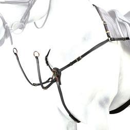 BP08 - Selleria Equipe Vorderzeug aus Leder mit Befestigungsmöglichkeit an den Sattelgurt-Strippen.