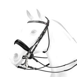 Kandare BR61 - Rundgenähter Kandarenzaum mit Swarovski und breitem Lack-Reithalfter. BR61, lack, morso, pferd, reithalfter, trense, trensezäume,