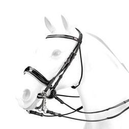 Kandare BR58 - Selleria Equipe.  Rundgenähter Kandarenzaum mit Swarowski-Stirnband und weiss unterlegtem breiten Lack-Reithalfter.