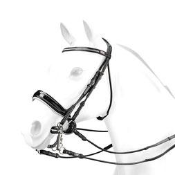 Rundgenähter Kandarenzaum mit Swarovski-Stirnband und weiß unterlegtem Lack- Reithalfter. BR58, lack, pferd, reithalfter, stirnband, trense, trensezäume