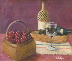 ぶどうとワイン 油彩10号