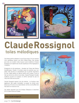 Claude Rossignol - Article Art & Design août-octobre 2015