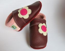 Blumenpuschen Lederschuhe