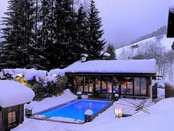Aussenansicht Pool im Schnee Jagdgut Wachtelhof
