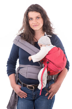 Huckepack mei Tai baby carrier, babywearing on the hip, hip seat.