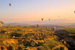 ballon, heissluftballon, landschaft, fliegen