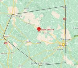 Secteur d'intervention de Coach Canin 16 educateur canin Charente et Charente maritime