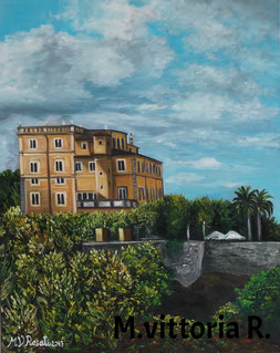 VILLA GRAZIOLI, OIL PAINTING ON CANVAS CM 40X50