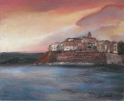 DETAIL OF THE ANCIENT TOWN OF VIESTE, OIL ON CANVAS, 40X50 CM, YEAR 2012